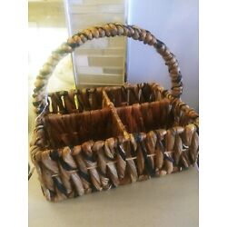 NWT Pier 1 Thick Weave Wicker Handle Basket 4 Sections Medium 11''x8''