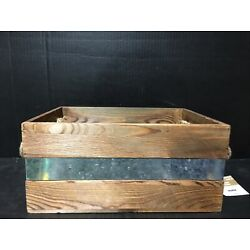 Ashland Rustic Farm Wooden Basket With Rope Handles 13.5  X 6.5  X 9.5  New