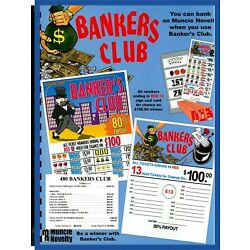 Kyпить 480ct 5W BANKERS CLUB seal card Bingo Pull Tab Tip Board (1-$100) LS sign OPT на еВаy.соm