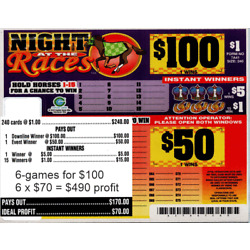 Kyпить 6-240ct 1LGW $1.00 NIGHT AT THE RACES Bingo seal card, pull tab ($100) на еВаy.соm