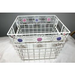 LARGE HEAVY WHITE METAL WIRE FLORAL ACCENTS HANDLED STORAGE BASKET BIN CONTAINER