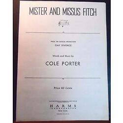 Kyпить COLE PORTER Sheet Music MISTER AND MISSUS FITCH / GAY DIVORCE 1954 Piano Vocal на еВаy.соm
