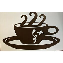 Brown Coffee Cup W/Saucer Wall Decal Sticker Kitchen Cafe  8.5 X 5.5