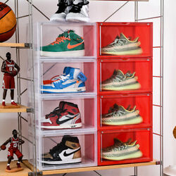 Magnetic Shoe Storage Box Drop Side/Front Sneaker Case Stackable Container Large
