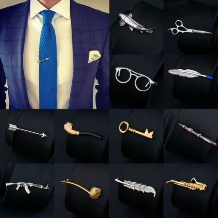 img-Fashion Men's Neck Tie Pin Clips Tie Bar Clasp Wedding Necktie Practical Clasp