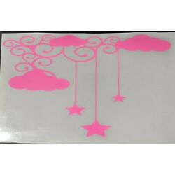 Baby Girl Bright Pink Nursery Clouds & Stars Wall Decal Sticker