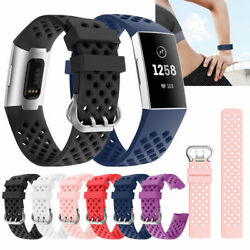 For Fitbit Charge 3/4 Replacement Silicone Bracelet Wrist Watch Band Strap e0