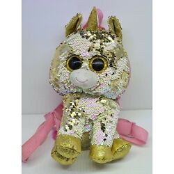 Kyпить Ty Beanie Boo Fantasia Plush Sequin Pink Gold Unicorn Backpack Purse 12