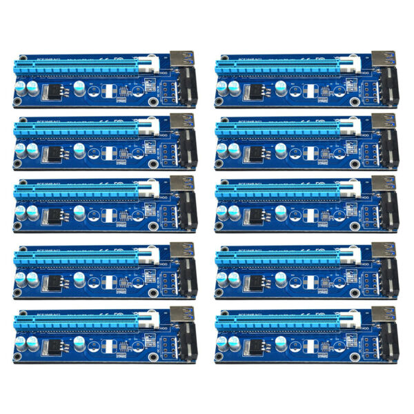 United Kingdom10pcs  3.0 PCI-E Express 1x 16x Extender Riser Card Adapter Power Cable ⑧Y