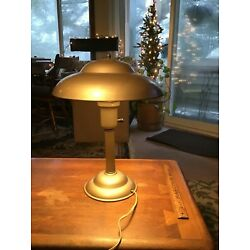 "Kyпить VINTAGE 1940s ART DECO SAUCER DESK LAMP - 16"" TALL 12"" IN DIAMETER - WORKS GREAT на еВаy.соm"