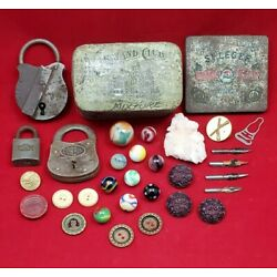 Kyпить Vintage Junk Drawer Collectible Lot Locks Buttons Marbles Mineral Tins Nibs Pin на еВаy.соm