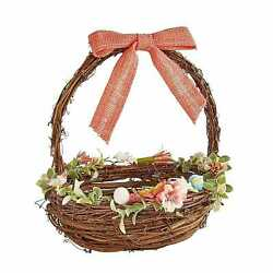PIER1 EASTER SMALL CORAL BOW FLORAL BASKET BNWT