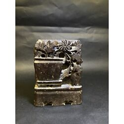 Kyпить Vintage Carved Chinese Soapstone Bookend (1) With Flower Leaves & Urn Vase на еВаy.соm