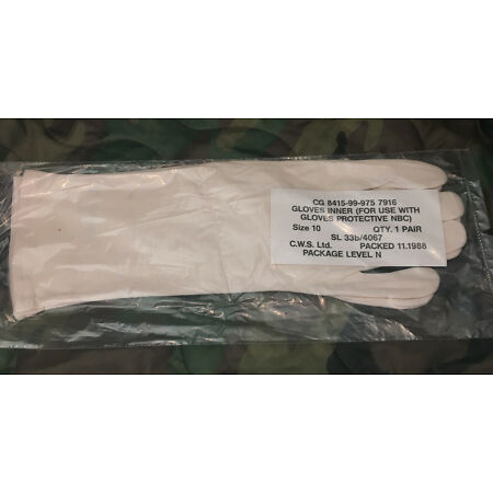 img-Army NBC CBRN Suit Inner White GLOVES Size 10 Parade Drill Falklands Gulf War