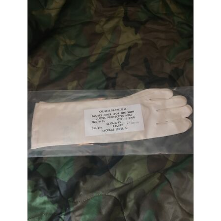 img-Army NBC CBRN Suit Inner White GLOVES Size 8-8.5 Parade Drill Falklands Gulf War