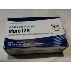 Kyпить (New) Bausch & Lomb Muro 128 Twin Pack 5% Sterile Ophthalmic Ointment, 3.5g each на еВаy.соm