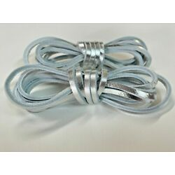 ONE PAIR METALLIC SILVER- 72'' Rawhide Leather FOIL Shoelaces Strings Laces