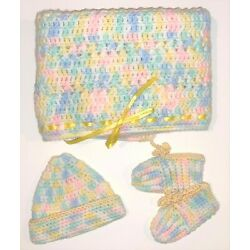 Kyпить New Handmade Multi-color Knitted Crochet Baby Blanket Matching Hat And Booties на еВаy.соm
