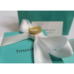 Tiffany & Co. Narrow Somerset Mesh Band Ring 18KTY Size 5 - In 'New' Condition