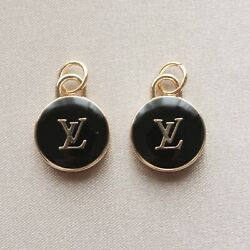 Set of 2 Louis Vuitton LV Zipper Pulls, 15mm, Black, Gold, Double Sided, Round