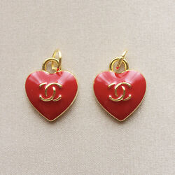 Set of 2 Chanel Zipper Pulls, 15mm, Heart, Red, Gold, Stamped