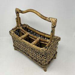 Utensil Holder Black Stained Farmhouse Woven Wicker & Bamboo Handle Storage