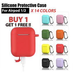 For AirPods 1 & 2 Silicone Cover 360 Full Protective Case with Key Chain