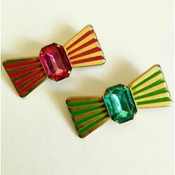 Brooches Vintage costume jewelery 80s golden metal bow tie candy striped bow