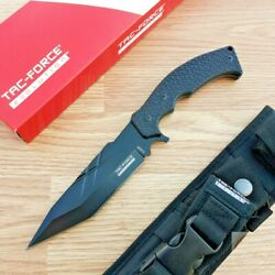Tac Force Fixed Knife 5.75'' 8Cr13MoV Steel Full Tang Blade Black G10 Handle