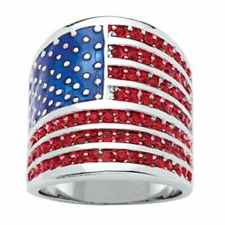 Kyпить  Silver Tone Round Simulated Red Ruby and Enamel American Flag Ring 10 на еВаy.соm