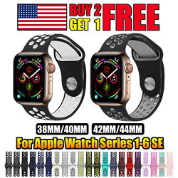For Apple Watch Sport Band Silicone iWatch Series 6 SE 5 4 3 Nike+ 38/40/42/44mm