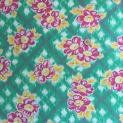 Vintage Partial Feed Sack Lovely Pink Floral w/Yellow Accents on Green
