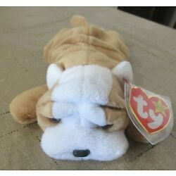 Ty Beanie Baby Wrinkles the Dog DOB  May 1, 1996 MW.MT Free Shipping