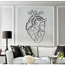 Wall Sticker Vinyl Decal Human Heart with Letters Phrase I Love You (n1453)