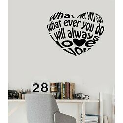 Wall Sticker Vinyl Decal Heart Shape Letters Quotes Word Phrase (n1454)