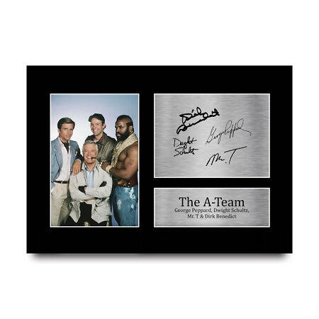 img-George Peppard Dwight Schultz Mr T Dirk Benedict A-Team Signed A4 Pic for TV Fan