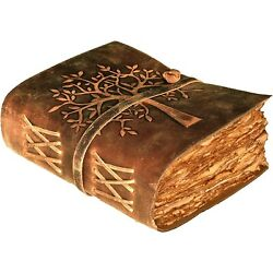 Vintage Leather Journal Tree of Life Deckle Edge Paper 8X6 In by Mosaic Leather