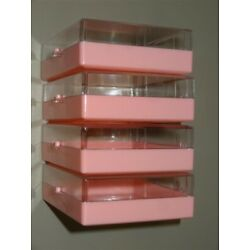 EIGHT 1960s NOS PINK Plastic Boxes