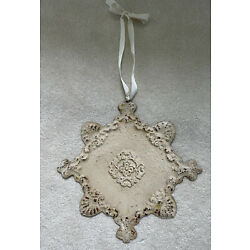 Decorative TIN plaque Wall Hanging Chippy Shabby Chic cream color