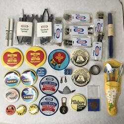 Vintage Kraft Pillsbury Collection Buttons Patches Pens & More