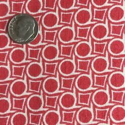 Vintage Partial Feed Sack Red on White Small Geo Design 20