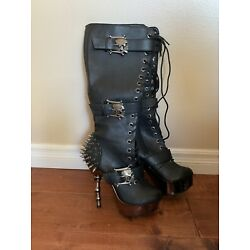 Muerto Chrome Bone High Heel Spiked Skull Buckle Lace Up Knee Boots