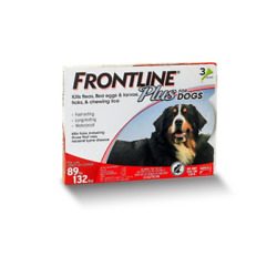 Frontline Plus for Dogs 89 - 132 lbs - red 3 MONTH / 3 DOSES