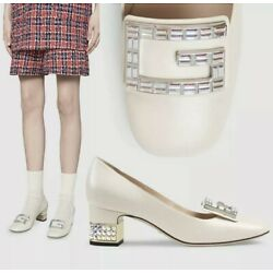 GUCCI SHOES MADELYN PUMPS CRYSTAL G BUCKLE LEATHER $1,250 IT 36.5 US 6.5