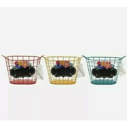 The Pioneer Woman Wire Chalkboard Basket Bundle, Red, Yellow & Teal, 10.7'' Tall