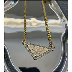 Prada upcycled triangle logo chain necklace gold