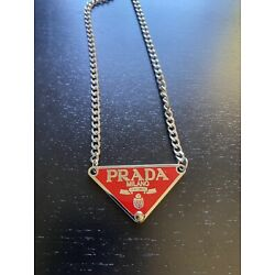 Prada upcycled triangle logo chain necklace red