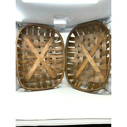 Set of 2 Large Dark Brown Tobacco Baskets Country Farmhouse Home Decor (DEFECTS)