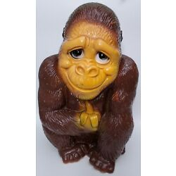 Vintage Gorilla Coin Bank New York Vinyl Products Corp. Monkey With Banana 1971