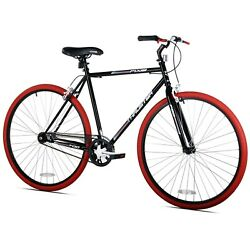 700c Thruster Fixie Steel Frame Road Bike, Single Speed, Rider Height 5'4''+, Red